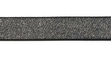 Glitzergummi 25mm schwarz/silber
