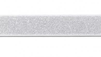 Glitzergummi 25mm weiß/silber