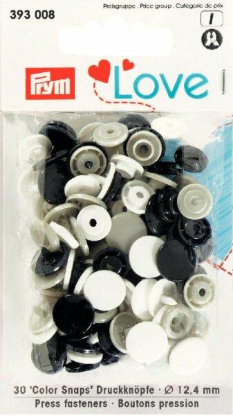 Prym Love Color Snaps Ø 12,4mm schwarz/grau/weiß