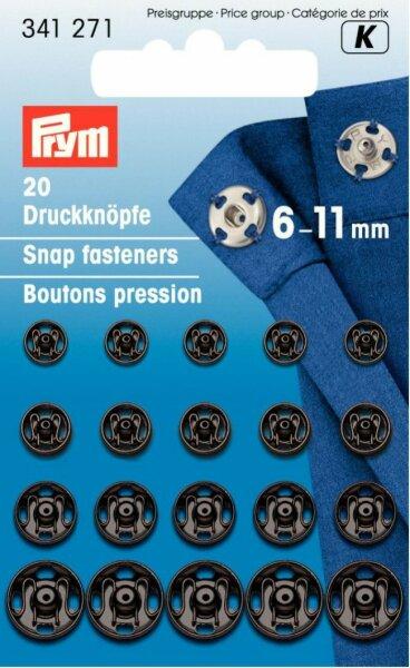 Prym Druckknöpfe zum Annähen 6-11mm schwarz