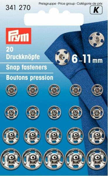 Prym Druckknöpfe zum Annähen 6-11mm silber