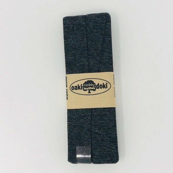 Jersey-Schrägband 40/20mm dunkelgrau meliert