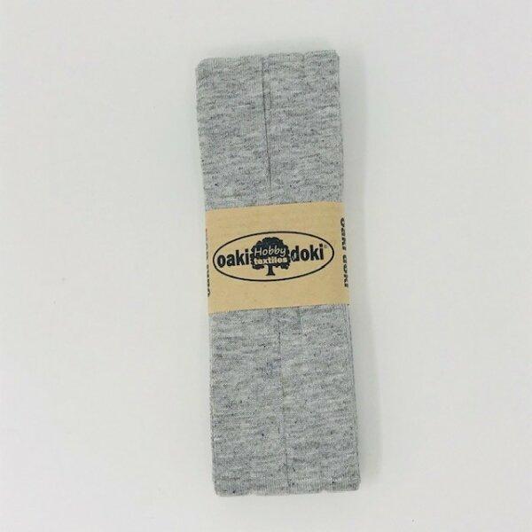 Jersey-Schrägband 40/20mm hellgrau meliert