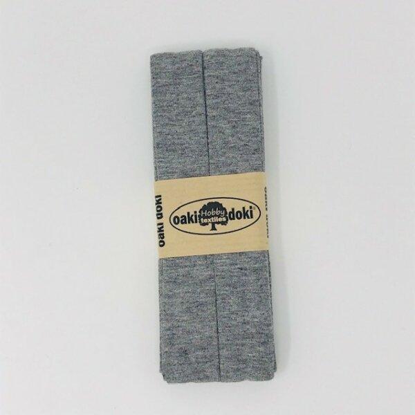 Jersey-Schrägband 40/20mm grau meliert