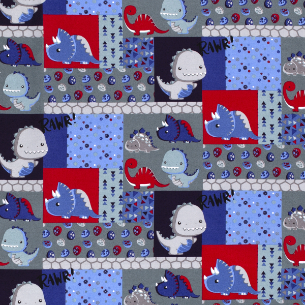 Dinos Baumwolle blau/grau/rot