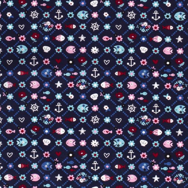 Fische und Blumen Baumwolle dunkelblau