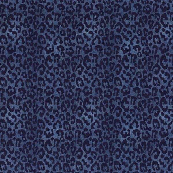 Leopardenmuster Jersey dunkelblau