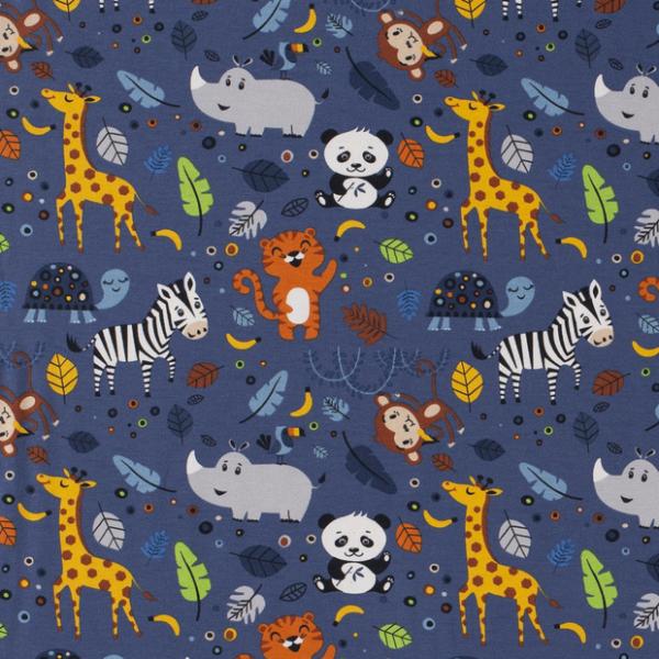 Dschungeltiere Jersey jeansblau