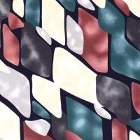 Abstrakt Viskosejersey rost/smaragd/grau
