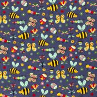 Bienen und Käfer Baumwolle jeansblau