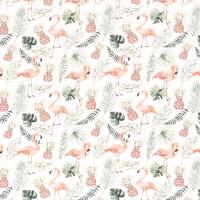 Flamingos und Blätter Jersey offwhite