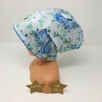 Beanie Blumenbouquet blaugrün