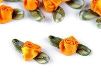 Satinröschen mit Blättern 10mm x 26mm sonnengelb