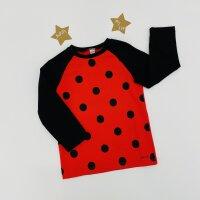 T-Shirt Langarm Black dots-rot
