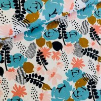 abstrakte Blumen Jersey weiß