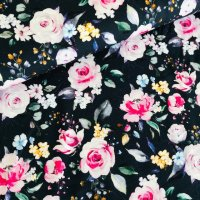 Blumen Viskose Crepe Jersey dunkelblau