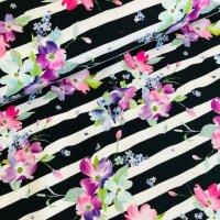 Blumen gestreift French Terry schwarz/weiß