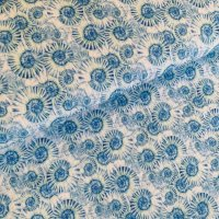 Schnecken Musselin blau/weiß