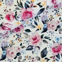 Blumen Viskose Crepe Jersey weiß