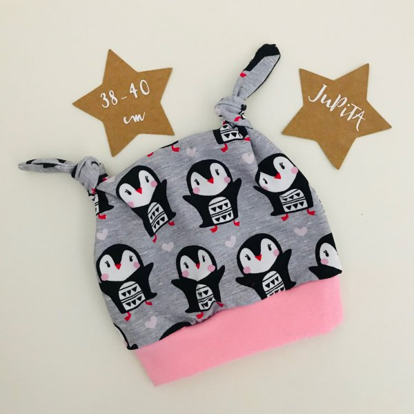 Knotenmütze Pinguine auf grau