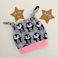 Pinguine auf grau, Bündchen rosa