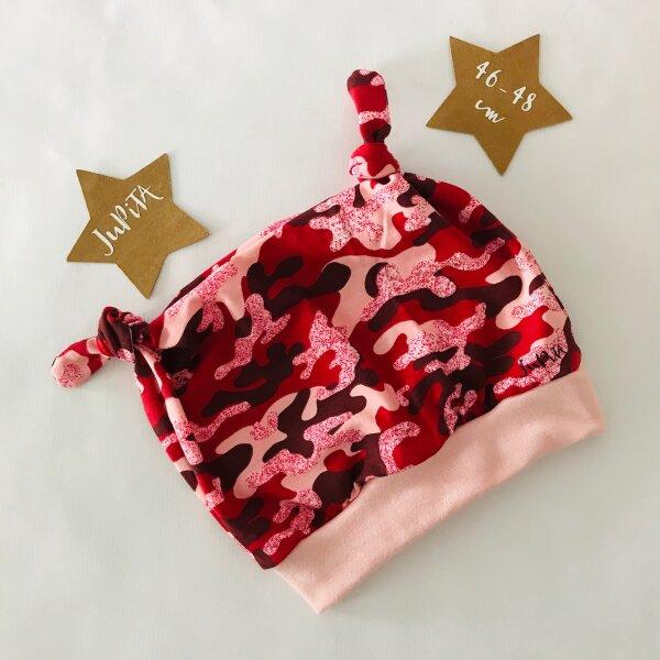 Knotenmütze Camouflage rosa/rot