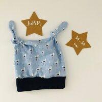 Knotenmütze Möwen und Sterne hellblau