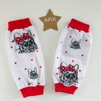 Stulpen Bulldoggen schwarz/rot auf weiß gepunktet