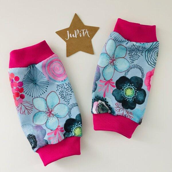Stulpen Blumen pink/türkis