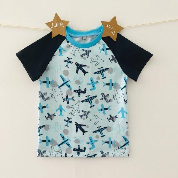 T-Shirt Kurzarm Flugzeuge hellblau