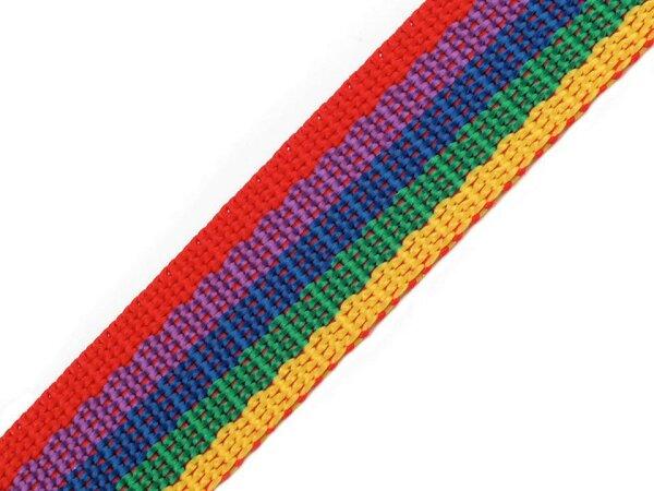 Gurtband 25mm Regenbogen